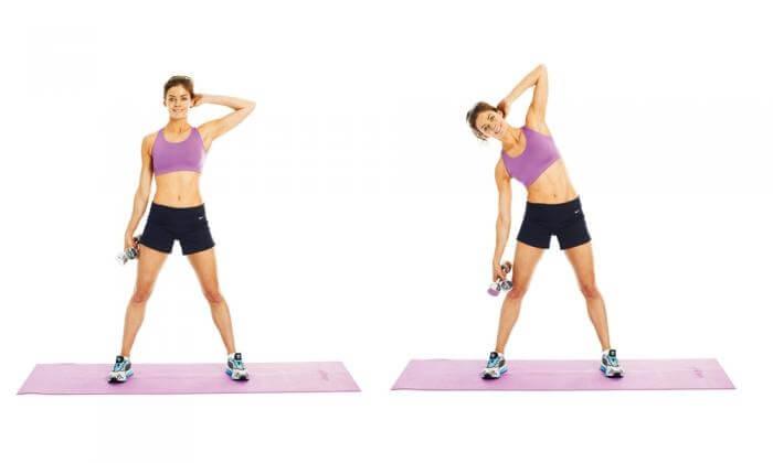 Упражнения с гантелями для похудения живота и боков
